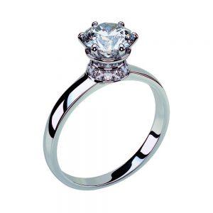 Anello di Fidanzamento Corona Oro 18 ct. Diamante 0.50 VVS1